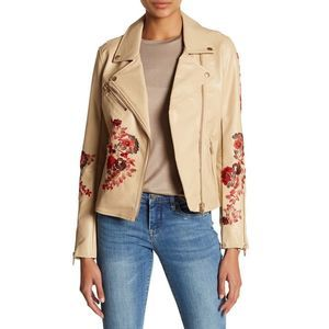 BLANKNYC Floral Embroidery Faux Leather Jacket